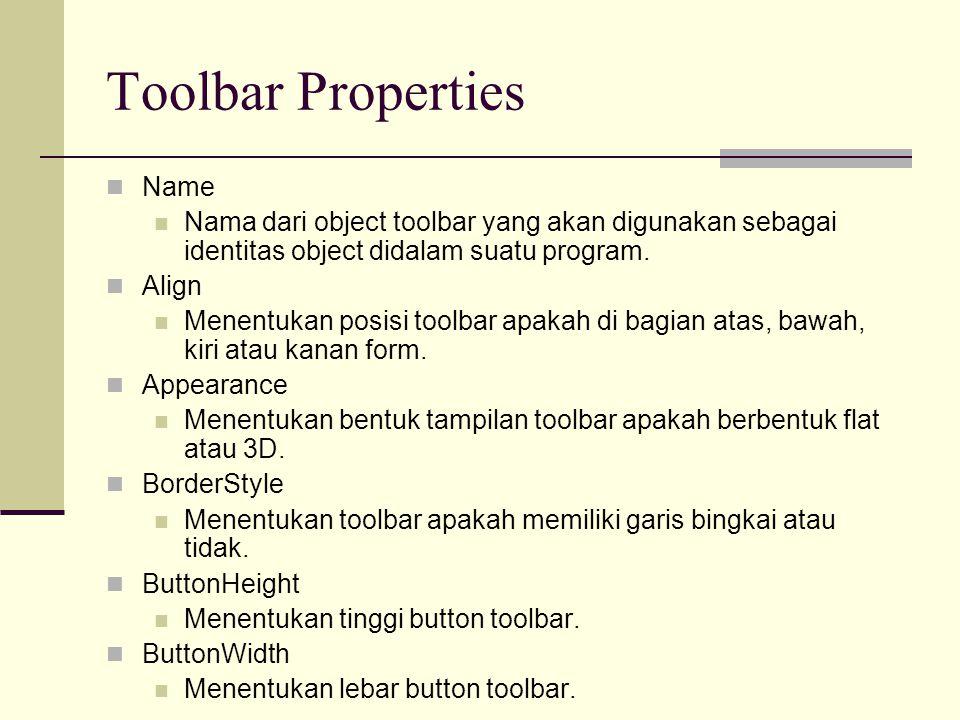 Toolbar Properties Name Nama dari object toolbar yang akan digunakan sebagai identitas object didalam suatu program. Align Menentukan posisi toolbar a