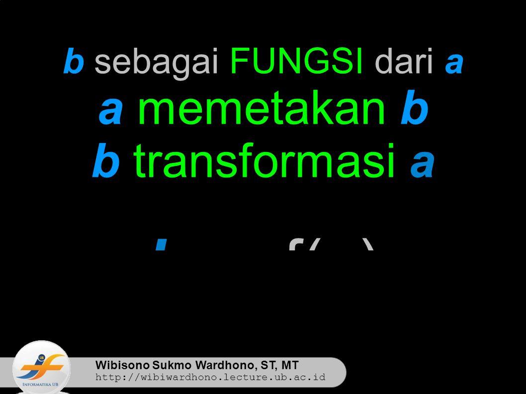 Wibisono Sukmo Wardhono, ST, MT http://wibiwardhono.lecture.ub.ac.id b sebagai FUNGSI dari a a memetakan b b transformasi a b ← f(a)