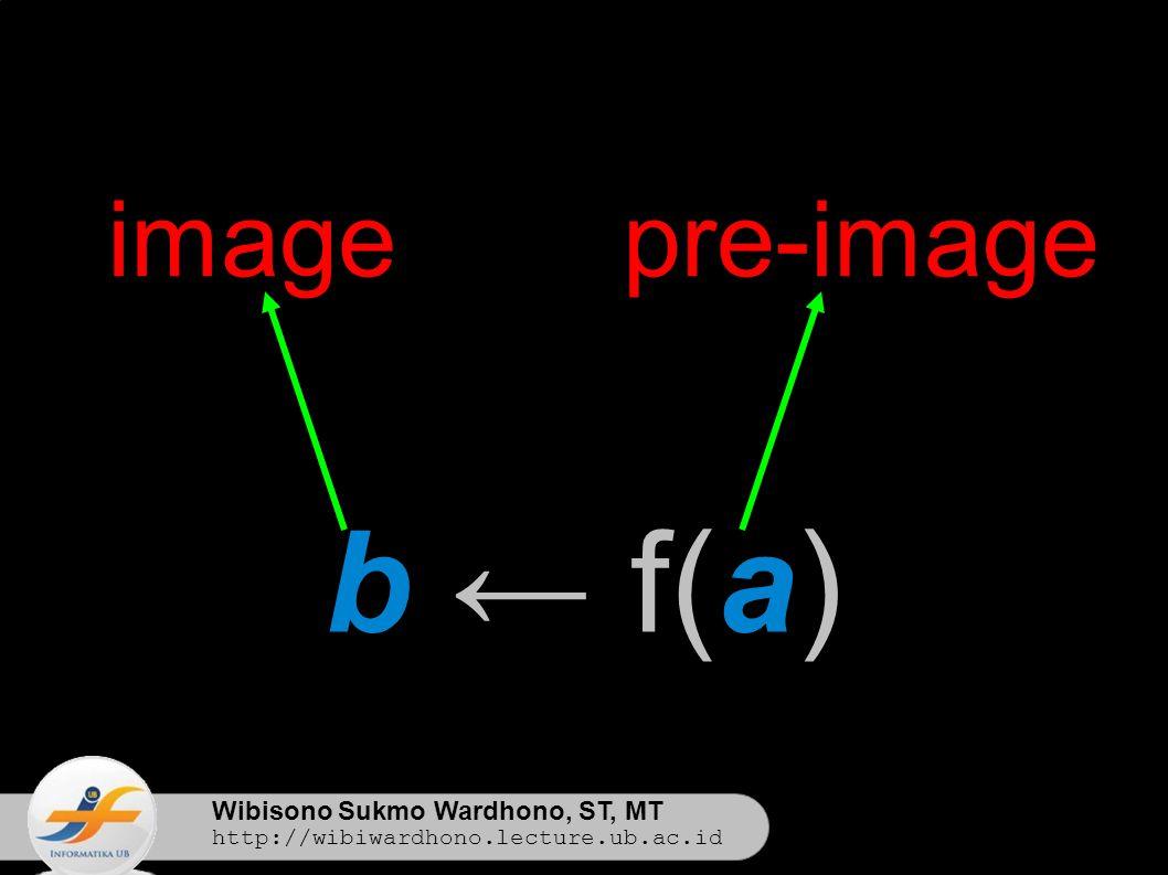 Wibisono Sukmo Wardhono, ST, MT http://wibiwardhono.lecture.ub.ac.id b ← f(a) imagepre-image