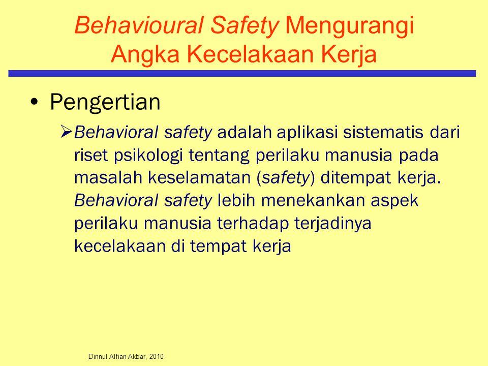 Dinnul Alfian Akbar, 2010 Behavioural Safety Mengurangi Angka Kecelakaan Kerja Pengertian  Behavioral safety adalah aplikasi sistematis dari riset ps