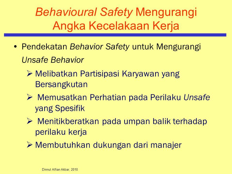 Dinnul Alfian Akbar, 2010 Behavioural Safety Mengurangi Angka Kecelakaan Kerja Pendekatan Behavior Safety untuk Mengurangi Unsafe Behavior  Melibatka