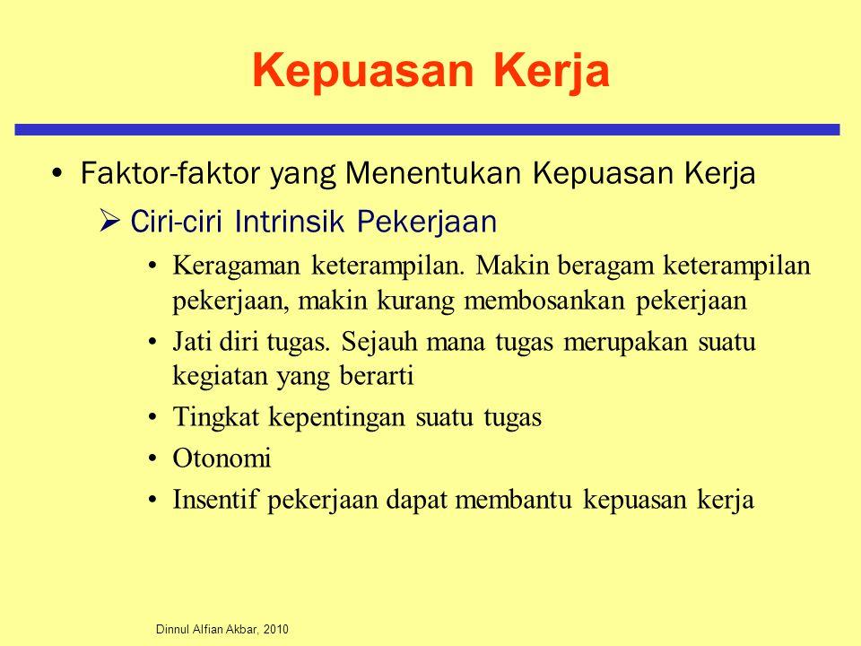 Dinnul Alfian Akbar, 2010 Kepuasan Kerja Faktor-faktor yang Menentukan Kepuasan Kerja  Ciri-ciri Intrinsik Pekerjaan Keragaman keterampilan. Makin be