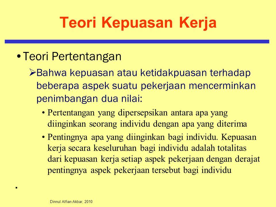 Dinnul Alfian Akbar, 2010 Teori Kepuasan Kerja Teori Pertentangan  Bahwa kepuasan atau ketidakpuasan terhadap beberapa aspek suatu pekerjaan mencermi