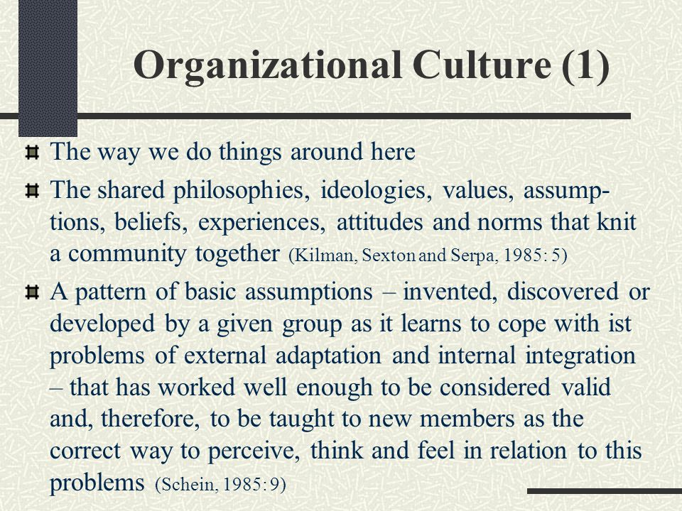 Organizational Culture (1) The way we do things around here The shared philosophies, ideologies, values, assump- tions, beliefs, experiences, attitude