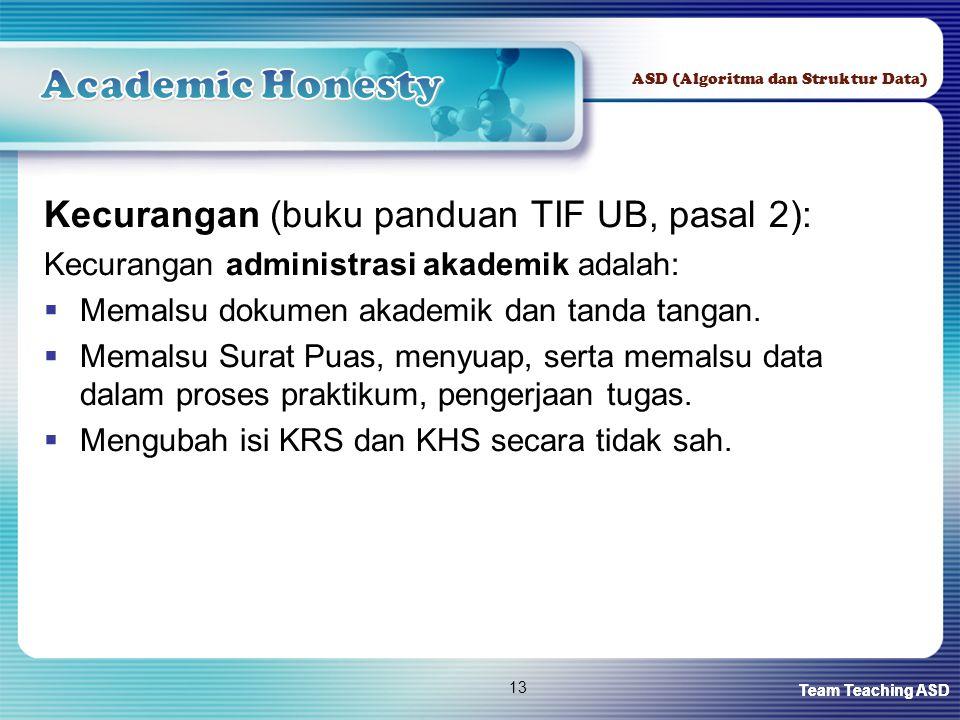 Team Teaching ASD ASD (Algoritma dan Struktur Data) 13 Kecurangan (buku panduan TIF UB, pasal 2): Kecurangan administrasi akademik adalah:  Memalsu dokumen akademik dan tanda tangan.