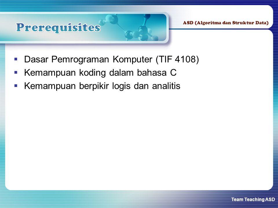 Team Teaching ASD ASD (Algoritma dan Struktur Data)  Dasar Pemrograman Komputer (TIF 4108)  Kemampuan koding dalam bahasa C  Kemampuan berpikir log