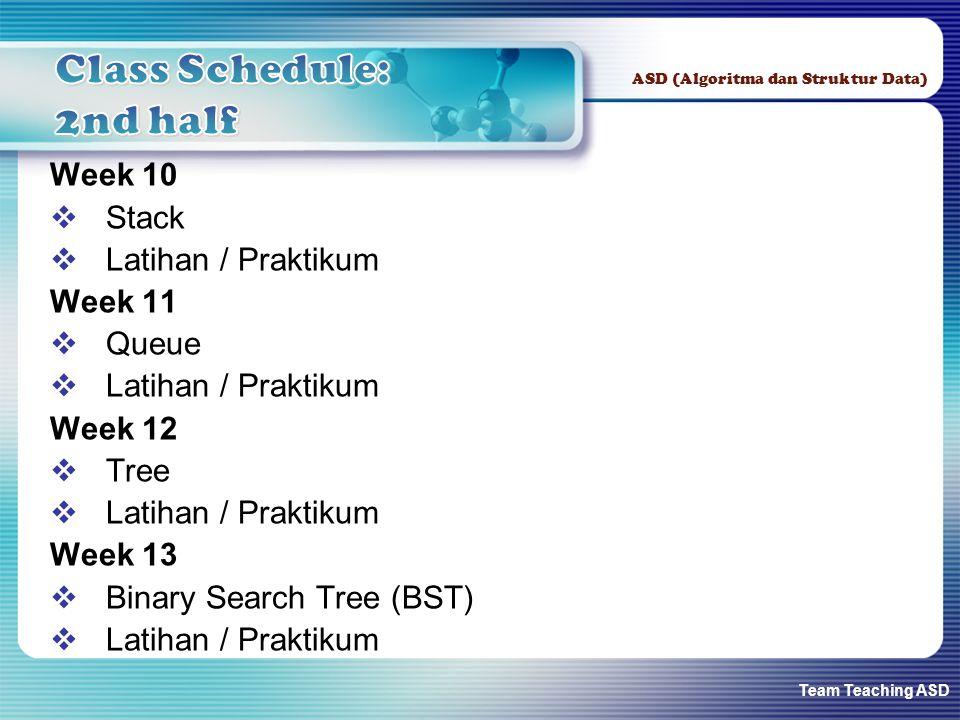 Team Teaching ASD ASD (Algoritma dan Struktur Data) Week 10  Stack  Latihan / Praktikum Week 11  Queue  Latihan / Praktikum Week 12  Tree  Latihan / Praktikum Week 13  Binary Search Tree (BST)  Latihan / Praktikum
