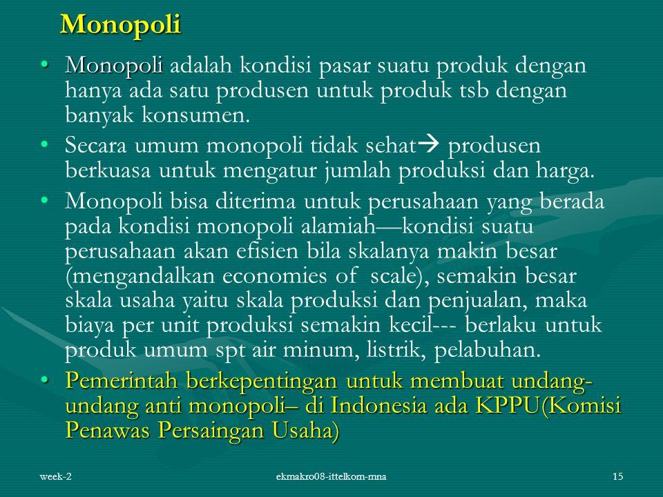 week-2ekmakro08-ittelkom-mna15 Monopoli MonopoliMonopoli adalah kondisi pasar suatu produk dengan hanya ada satu produsen untuk produk tsb dengan bany