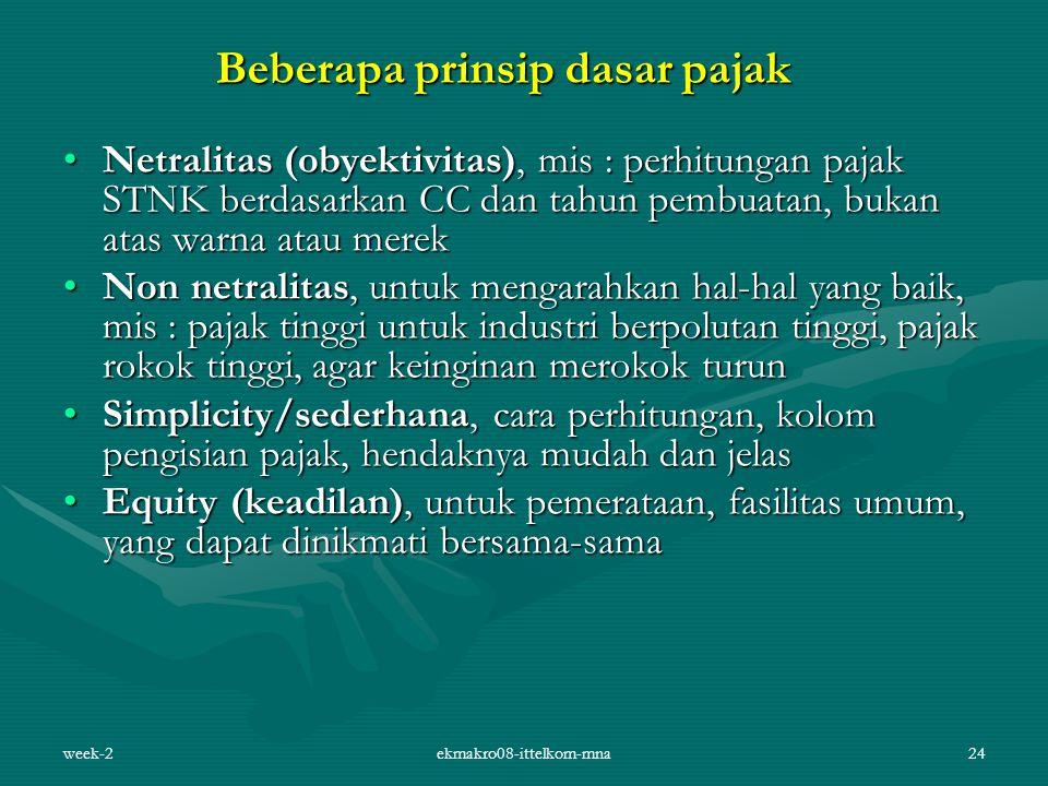 week-2ekmakro08-ittelkom-mna24 Beberapa prinsip dasar pajak Netralitas (obyektivitas), mis : perhitungan pajak STNK berdasarkan CC dan tahun pembuatan