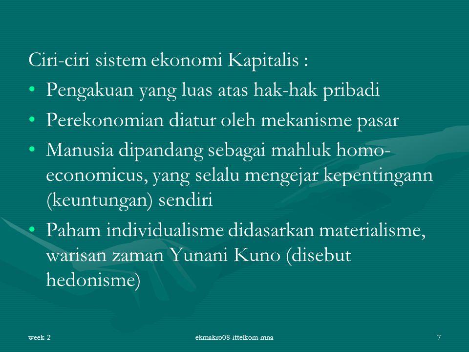 Ciri-ciri sistem ekonomi Kapitalis : Pengakuan yang luas atas hak-hak pribadi Perekonomian diatur oleh mekanisme pasar Manusia dipandang sebagai mahlu