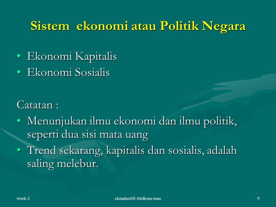 week-2ekmakro08-ittelkom-mna9 Sistem ekonomi atau Politik Negara Ekonomi KapitalisEkonomi Kapitalis Ekonomi SosialisEkonomi Sosialis Catatan : Menunju