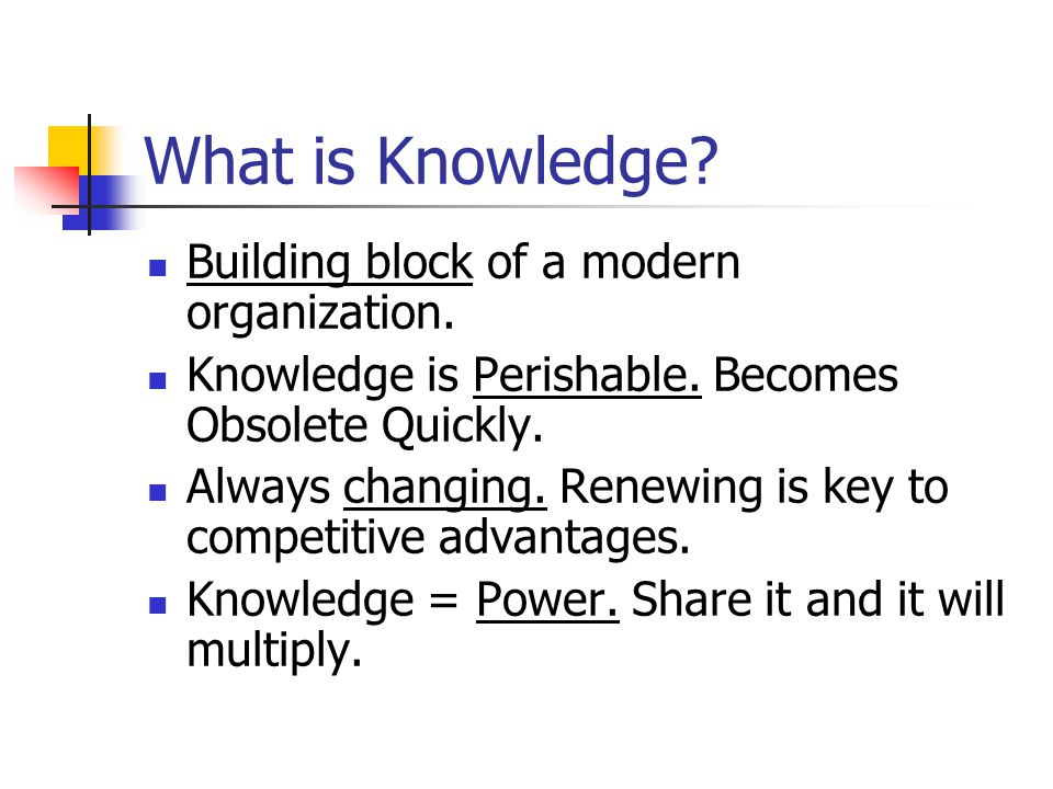 Building block of a modern organization. Knowledge is Perishable. Becomes Obsolete Quickly. Always changing. Renewing is key to competitive advantages