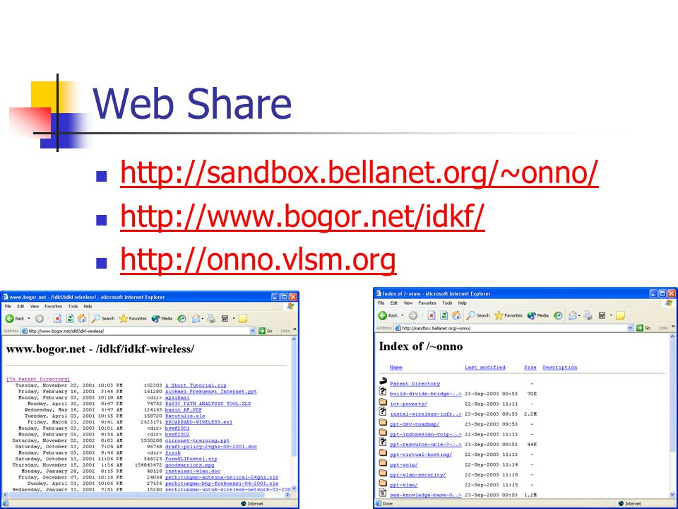 Web Share http://sandbox.bellanet.org/~onno/ http://www.bogor.net/idkf/ http://onno.vlsm.org