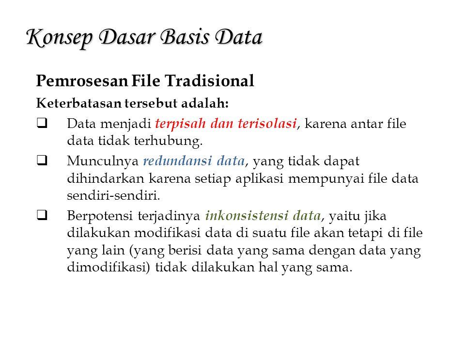 Konsep Dasar Basis Data Pemrosesan File Tradisional Keterbatasan tersebut adalah:  Data menjadi terpisah dan terisolasi, karena antar file data tidak