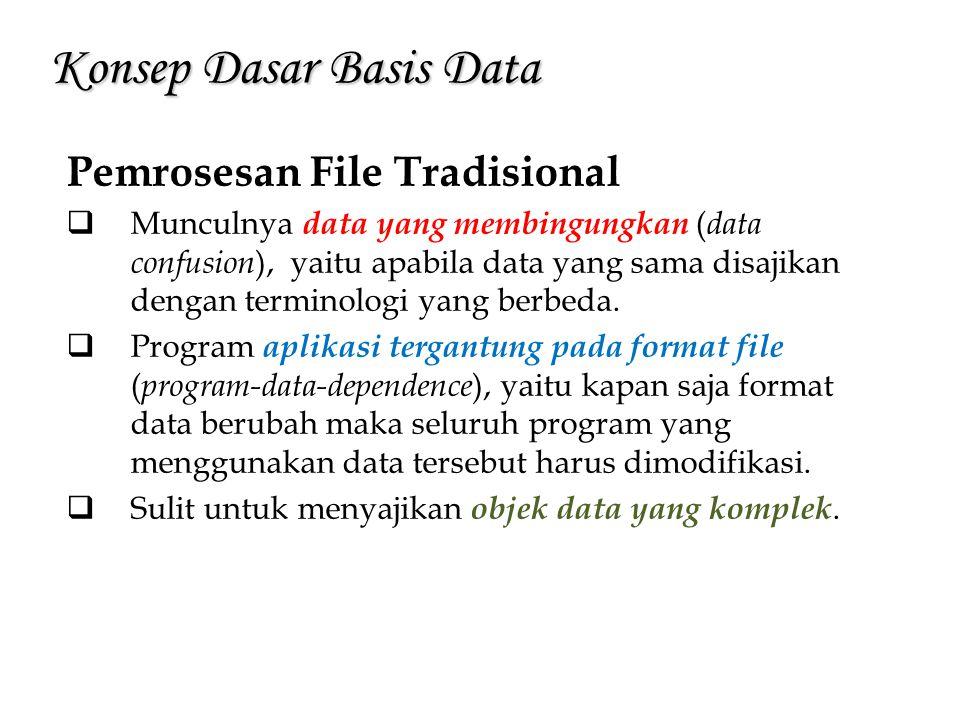 Konsep Dasar Basis Data Pemrosesan File Tradisional  Munculnya data yang membingungkan ( data confusion ), yaitu apabila data yang sama disajikan den