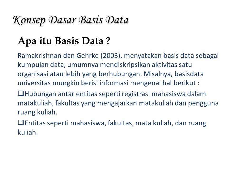 Konsep Dasar Basis Data Ramakrishnan dan Gehrke (2003), menyatakan basis data sebagai kumpulan data, umumnya mendiskripsikan aktivitas satu organisasi