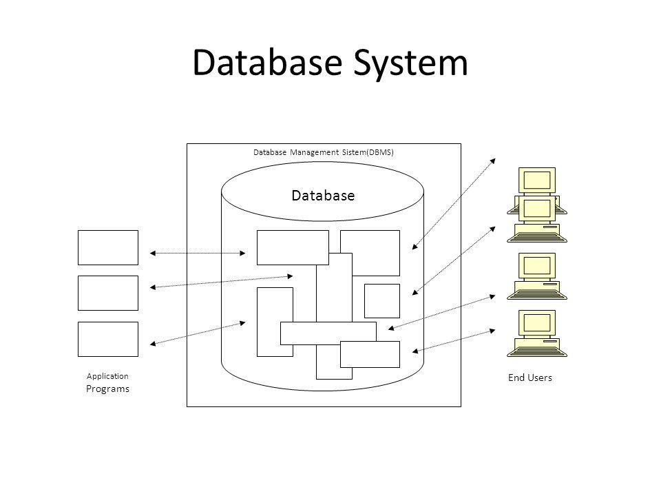 Database System Database Management Sistem(DBMS) Application Programs End Users Database