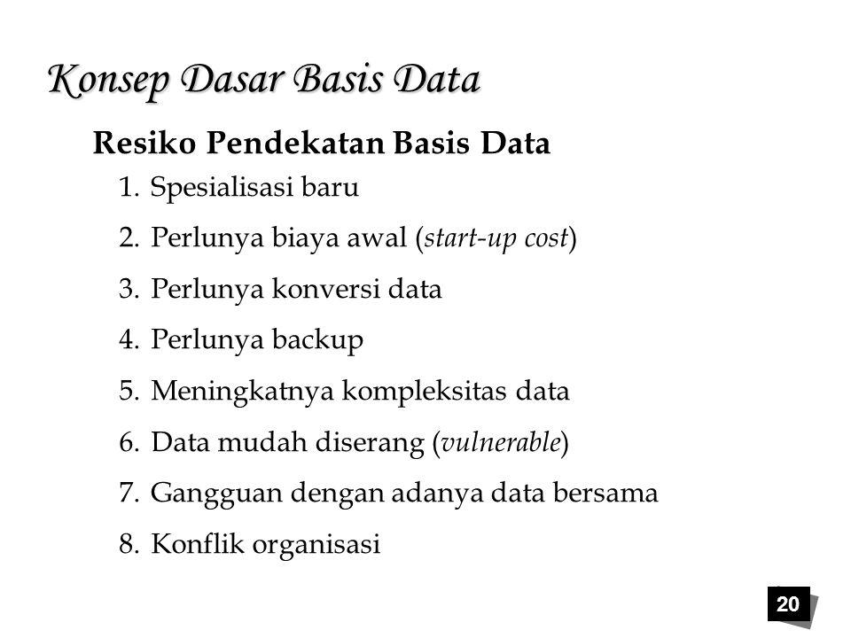 20 Konsep Dasar Basis Data Resiko Pendekatan Basis Data 1.Spesialisasi baru 2.Perlunya biaya awal ( start-up cost ) 3.Perlunya konversi data 4.Perluny