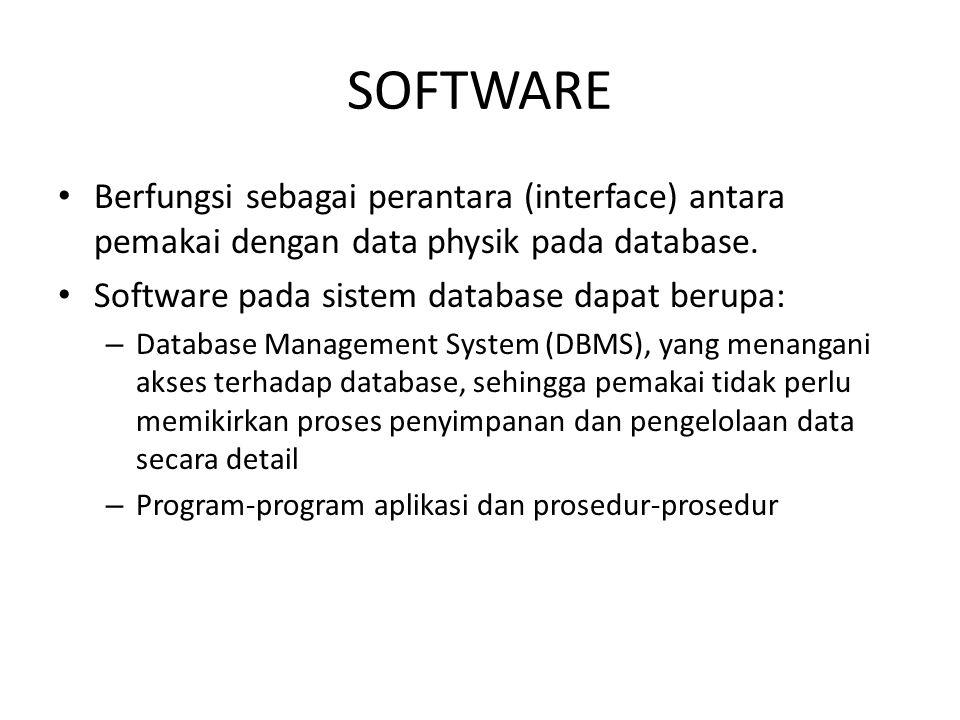 SOFTWARE Berfungsi sebagai perantara (interface) antara pemakai dengan data physik pada database. Software pada sistem database dapat berupa: – Databa