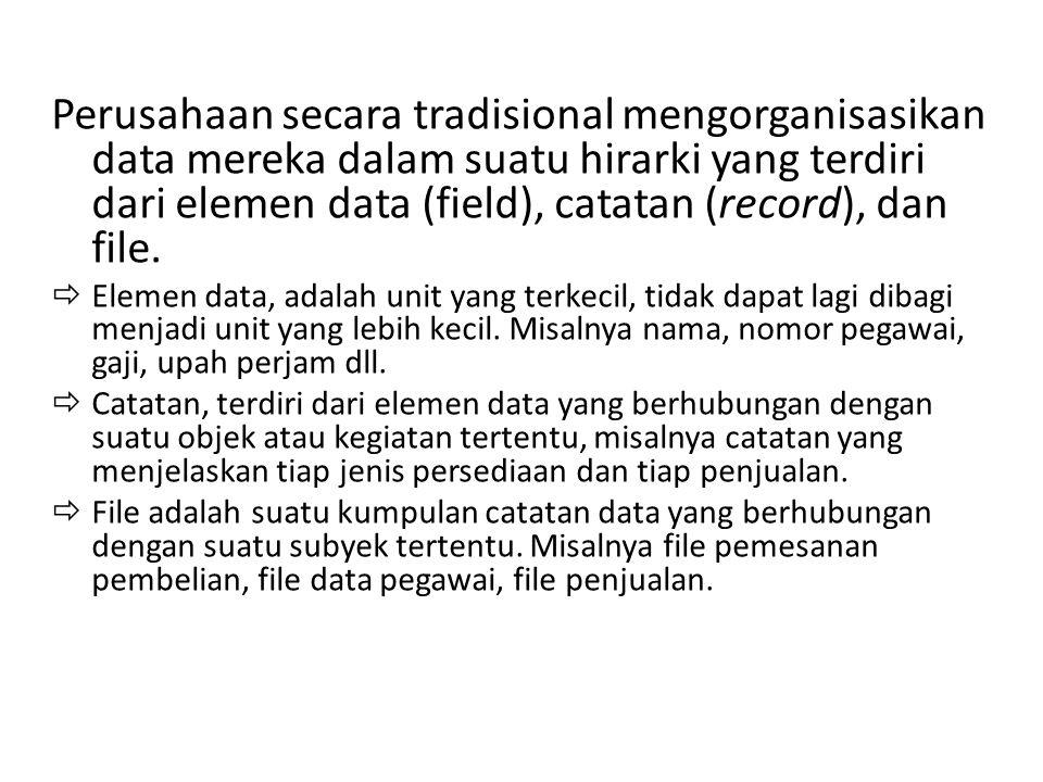 Perusahaan secara tradisional mengorganisasikan data mereka dalam suatu hirarki yang terdiri dari elemen data (field), catatan (record), dan file.  E