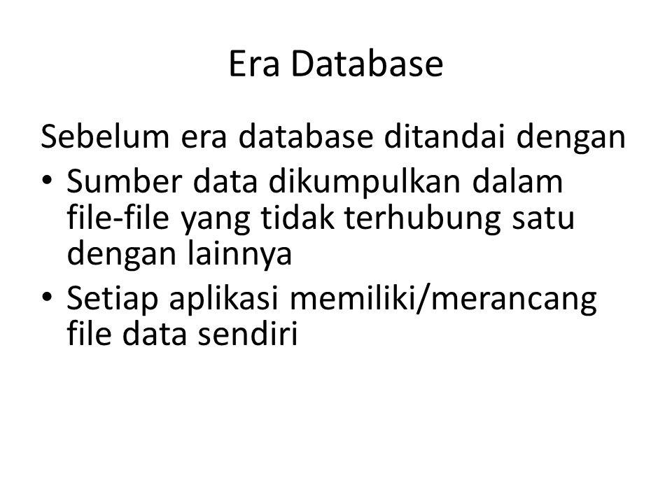 Era Database Sebelum era database ditandai dengan Sumber data dikumpulkan dalam file-file yang tidak terhubung satu dengan lainnya Setiap aplikasi mem