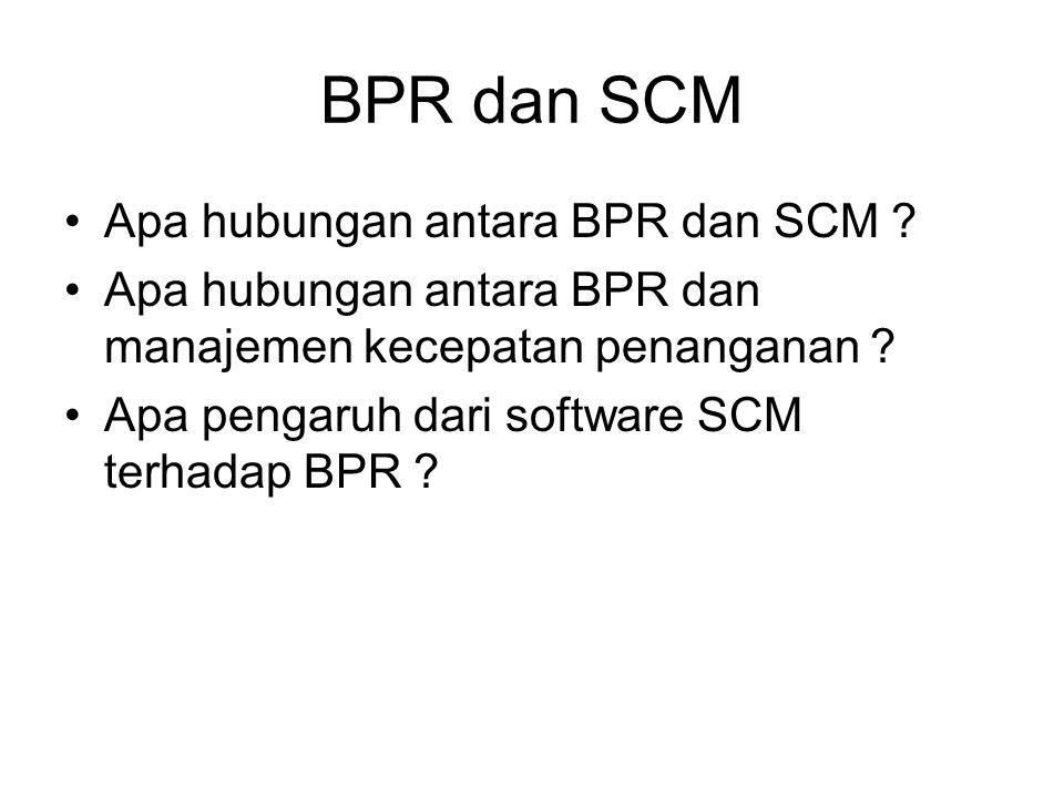 BPR dan SCM Apa hubungan antara BPR dan SCM ? Apa hubungan antara BPR dan manajemen kecepatan penanganan ? Apa pengaruh dari software SCM terhadap BPR