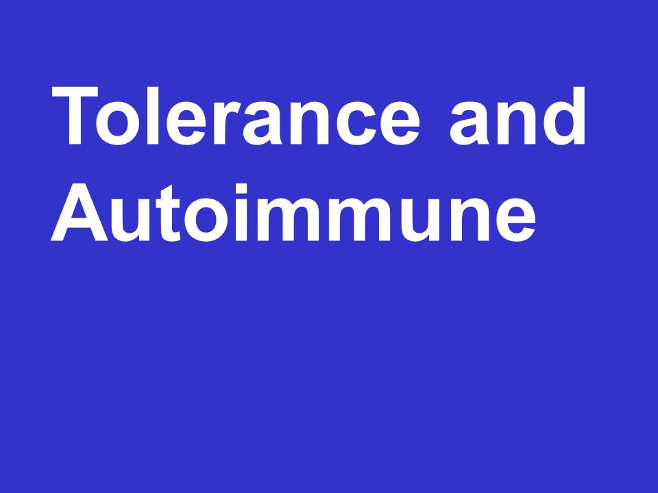 Tolerance and Autoimmune