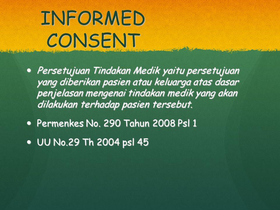 INFORMED CONSENT Persetujuan Tindakan Medik yaitu persetujuan yang diberikan pasien atau keluarga atas dasar penjelasan mengenai tindakan medik yang a