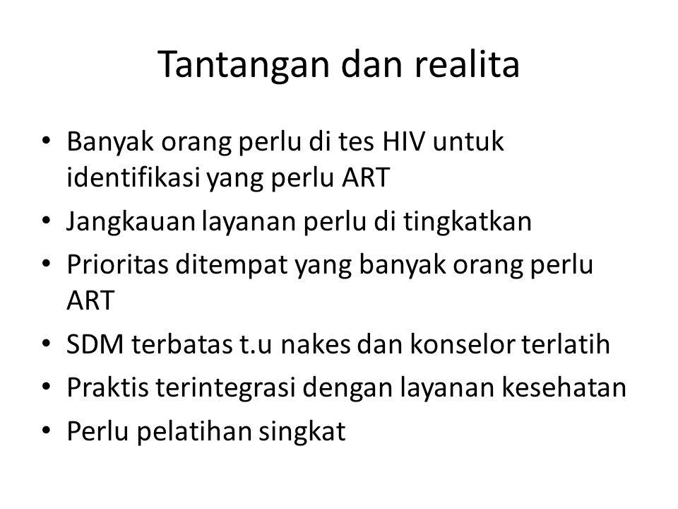 Tantangan dan realita Banyak orang perlu di tes HIV untuk identifikasi yang perlu ART Jangkauan layanan perlu di tingkatkan Prioritas ditempat yang ba