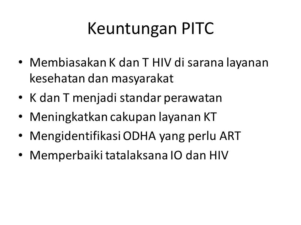 Keuntungan PITC Membiasakan K dan T HIV di sarana layanan kesehatan dan masyarakat K dan T menjadi standar perawatan Meningkatkan cakupan layanan KT M