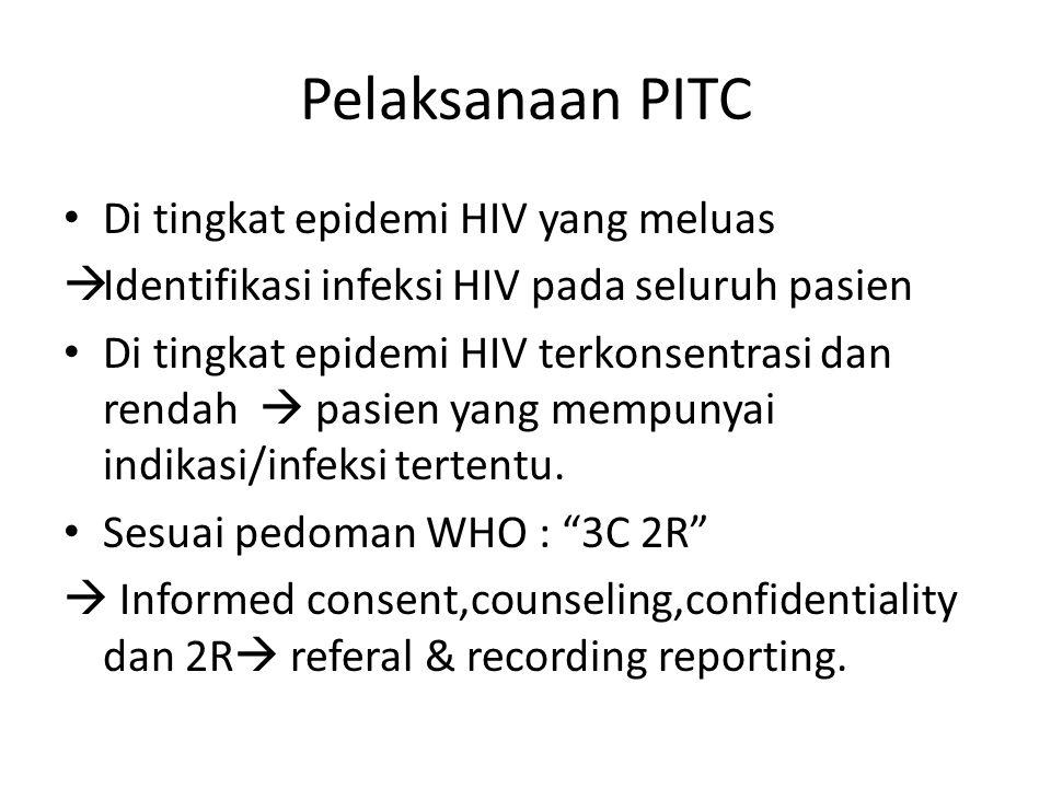 Pelaksanaan PITC Di tingkat epidemi HIV yang meluas  Identifikasi infeksi HIV pada seluruh pasien Di tingkat epidemi HIV terkonsentrasi dan rendah 