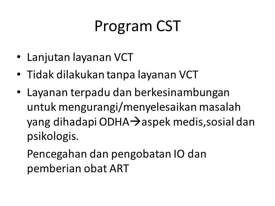 Program CST Lanjutan layanan VCT Tidak dilakukan tanpa layanan VCT Layanan terpadu dan berkesinambungan untuk mengurangi/menyelesaikan masalah yang di