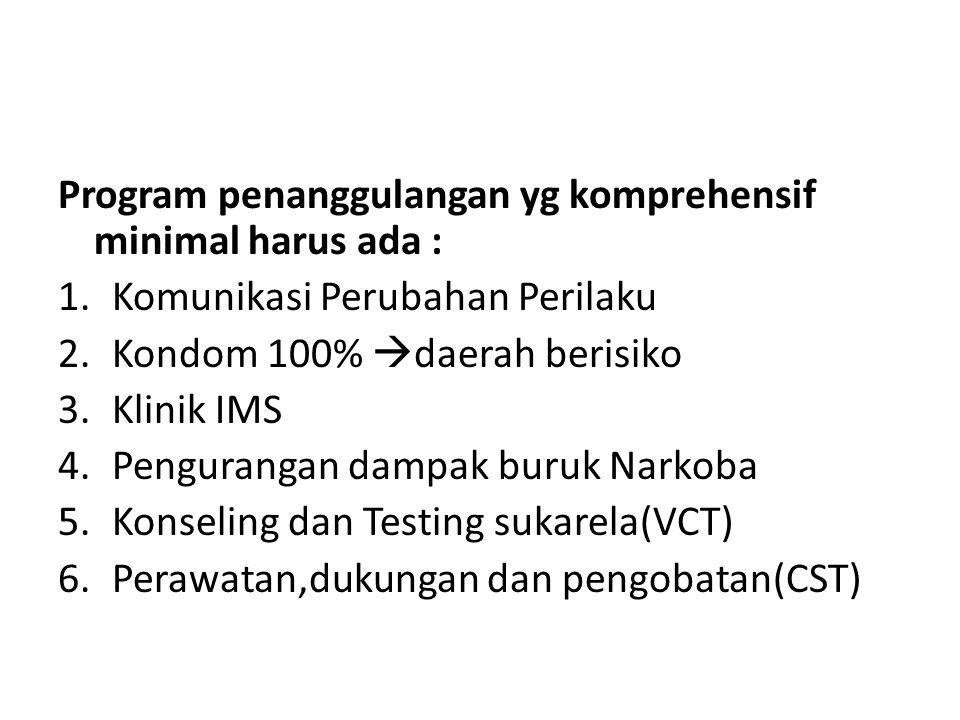 Program penanggulangan yg komprehensif minimal harus ada : 1.Komunikasi Perubahan Perilaku 2.Kondom 100%  daerah berisiko 3.Klinik IMS 4.Pengurangan