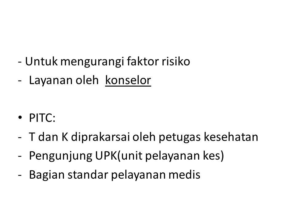 - Untuk mengurangi faktor risiko -Layanan oleh konselor PITC: -T dan K diprakarsai oleh petugas kesehatan -Pengunjung UPK(unit pelayanan kes) -Bagian