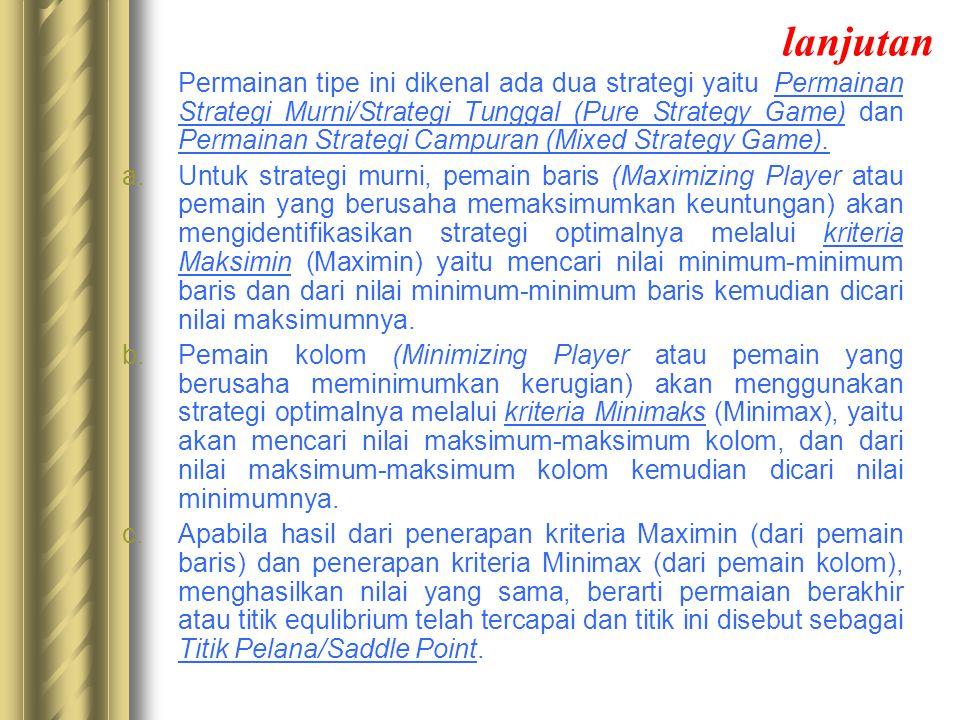 lanjutan Permainan tipe ini dikenal ada dua strategi yaitu Permainan Strategi Murni/Strategi Tunggal (Pure Strategy Game) dan Permainan Strategi Campu