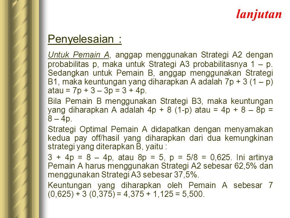 lanjutan Penyelesaian : Untuk Pemain A, anggap menggunakan Strategi A2 dengan probabilitas p, maka untuk Strategi A3 probabilitasnya 1 – p. Sedangkan