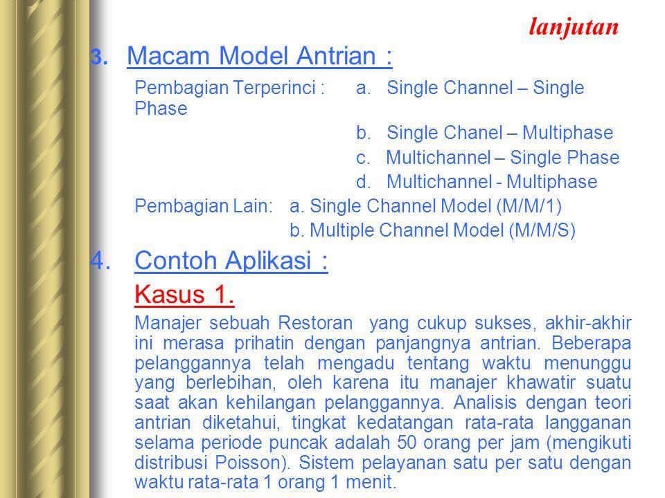 lanjutan 3. Macam Model Antrian : Pembagian Terperinci : a. Single Channel – Single Phase b. Single Chanel – Multiphase c. Multichannel – Single Phase