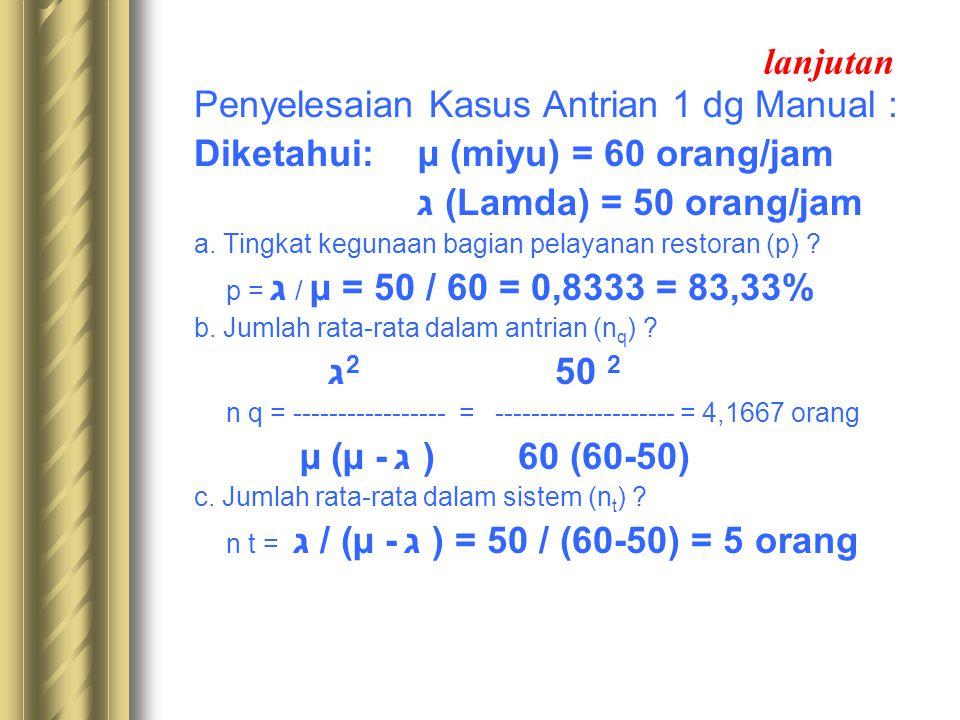 lanjutan Penyelesaian Kasus Antrian 1 dg Manual : Diketahui: µ (miyu) = 60 orang/jam ג (Lamda) = 50 orang/jam a. Tingkat kegunaan bagian pelayanan res