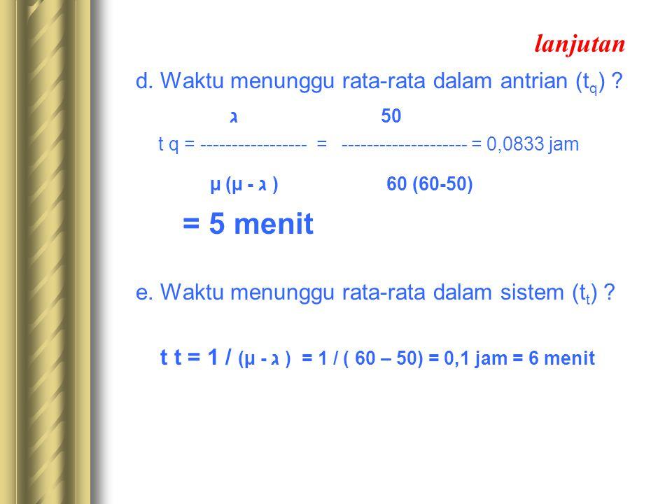 lanjutan d. Waktu menunggu rata-rata dalam antrian (t q ) ? ג 50 t q = ----------------- = -------------------- = 0,0833 jam µ (µ - ג ) 60 (60-50) = 5