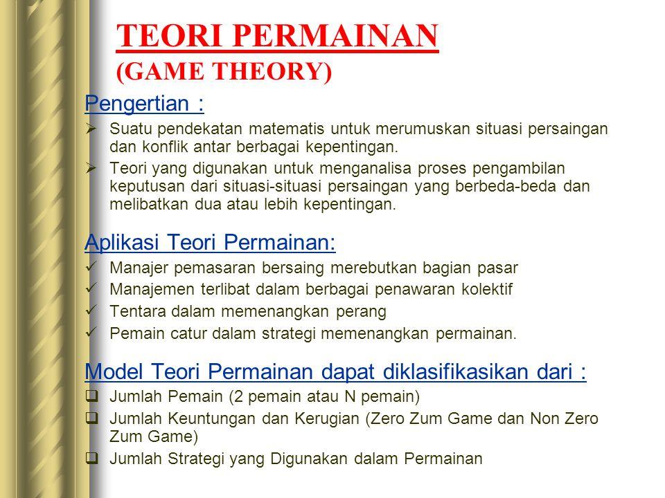 TEORI PERMAINAN (GAME THEORY) Pengertian :  Suatu pendekatan matematis untuk merumuskan situasi persaingan dan konflik antar berbagai kepentingan. 