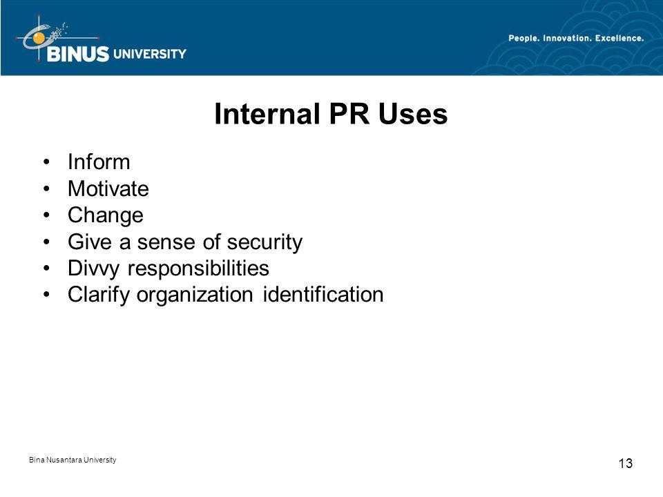 Internal PR Uses Inform Motivate Change Give a sense of security Divvy responsibilities Clarify organization identification Bina Nusantara University