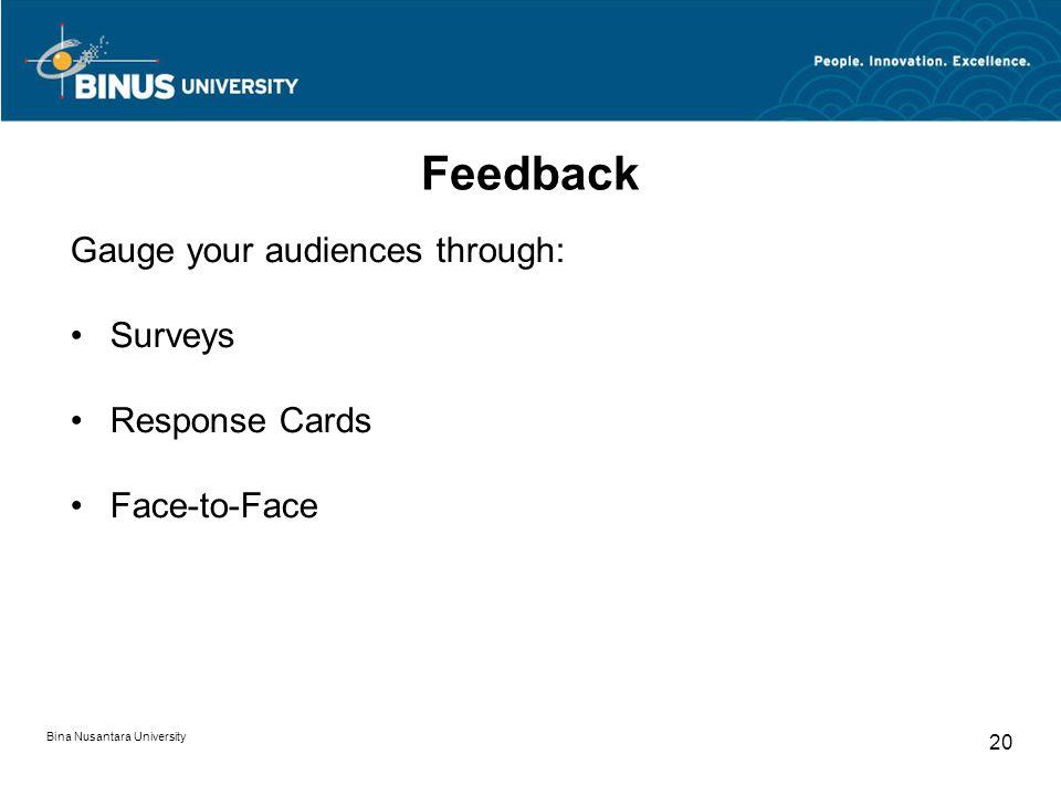 Feedback Gauge your audiences through: Surveys Response Cards Face-to-Face Bina Nusantara University 20