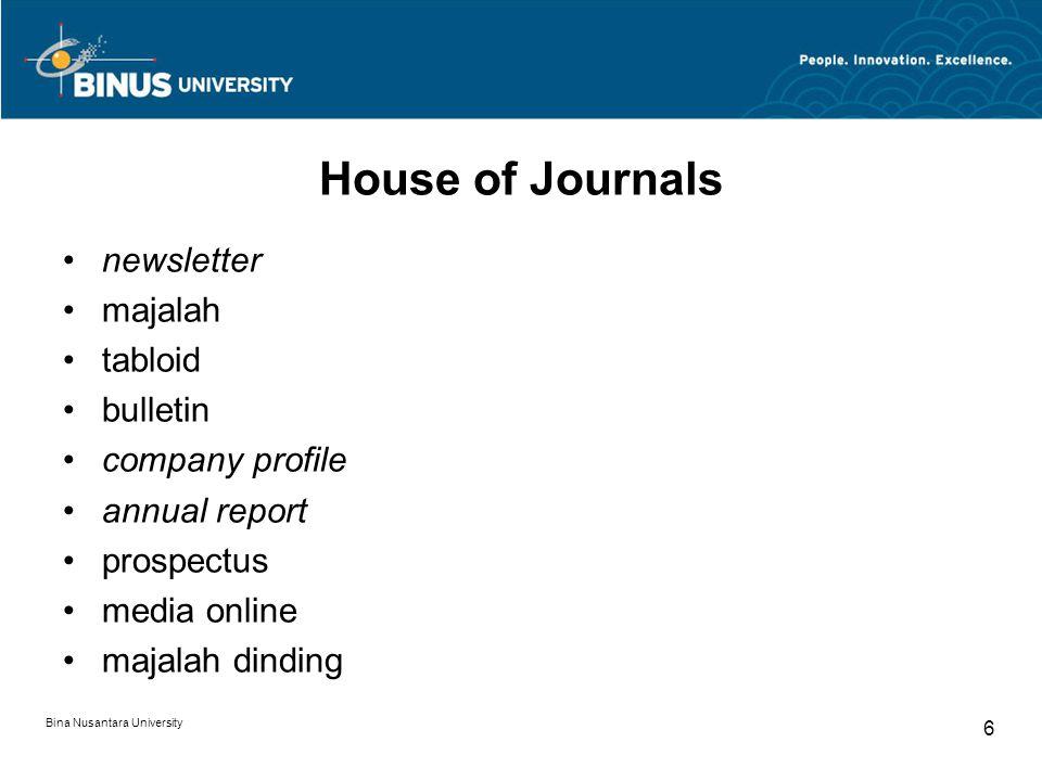 House of Journals newsletter majalah tabloid bulletin company profile annual report prospectus media online majalah dinding Bina Nusantara University