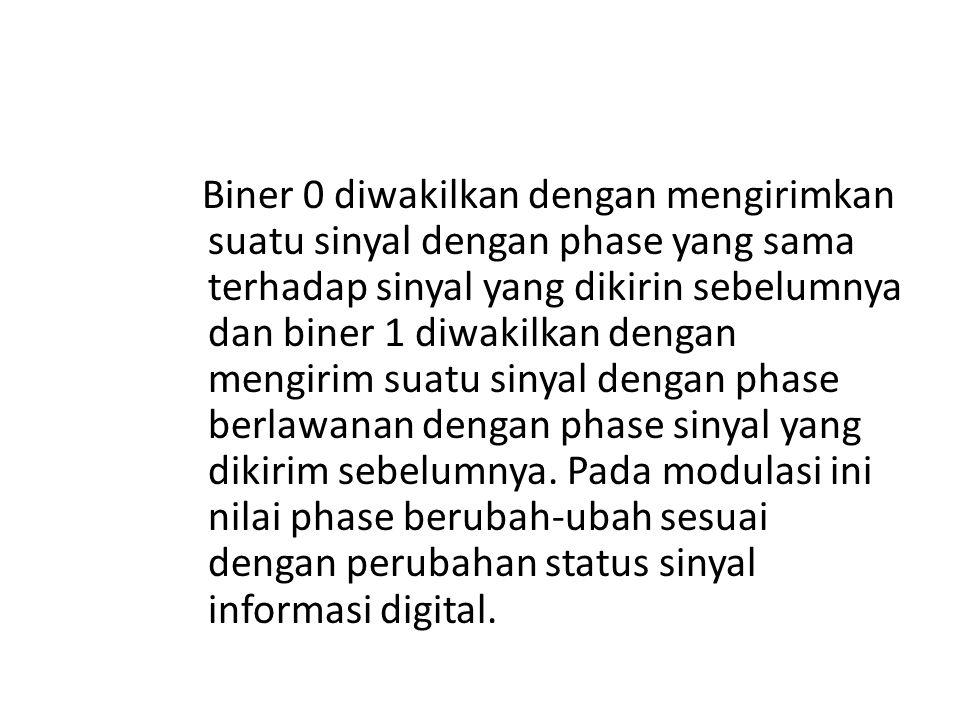 Biner 0 diwakilkan dengan mengirimkan suatu sinyal dengan phase yang sama terhadap sinyal yang dikirin sebelumnya dan biner 1 diwakilkan dengan mengir