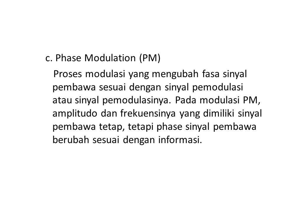 c. Phase Modulation (PM) Proses modulasi yang mengubah fasa sinyal pembawa sesuai dengan sinyal pemodulasi atau sinyal pemodulasinya. Pada modulasi PM