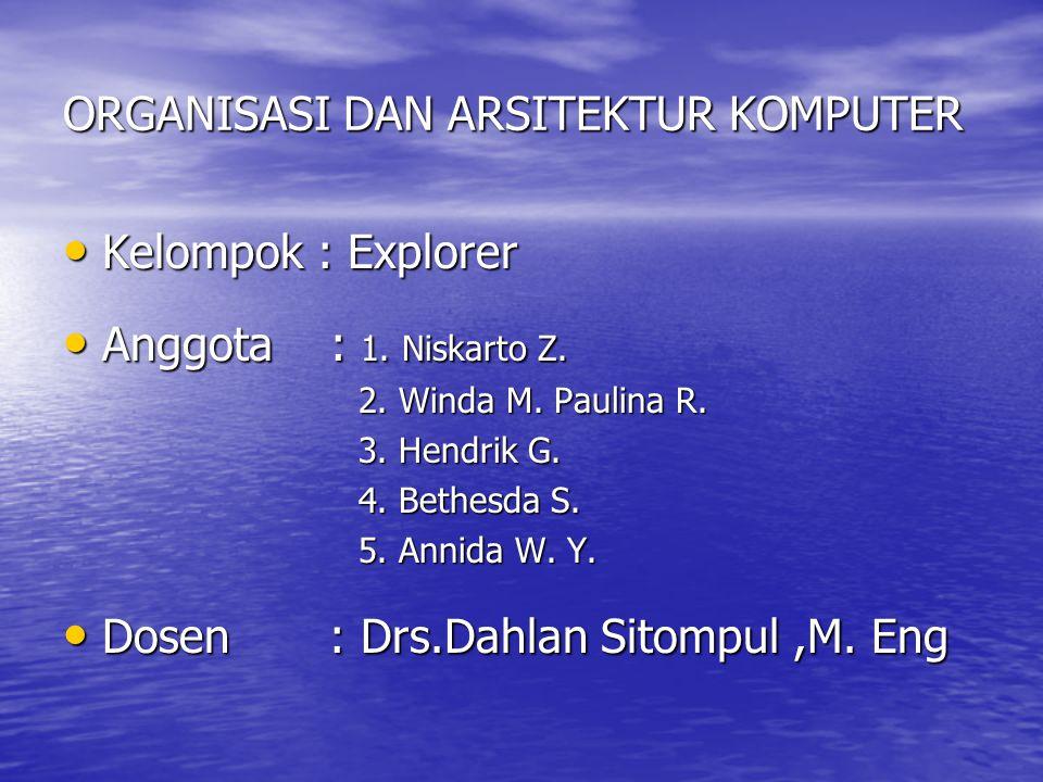 ORGANISASI DAN ARSITEKTUR KOMPUTER Kelompok : Explorer Kelompok : Explorer Anggota : 1. Niskarto Z. Anggota : 1. Niskarto Z. 2. Winda M. Paulina R. 2.
