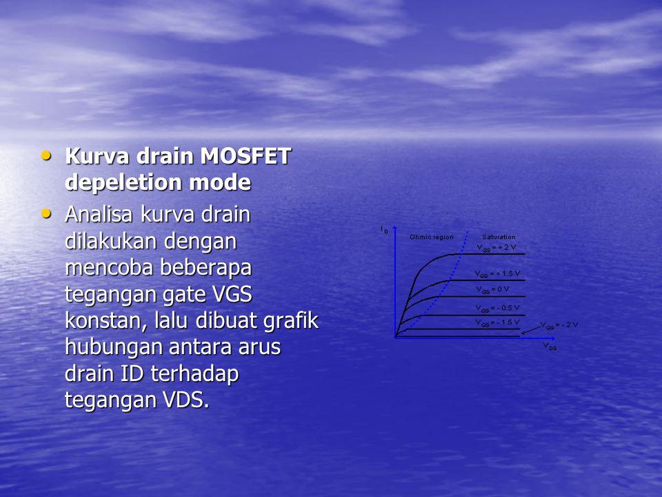 Kurva drain MOSFET depeletion mode Kurva drain MOSFET depeletion mode Analisa kurva drain dilakukan dengan mencoba beberapa tegangan gate VGS konstan,