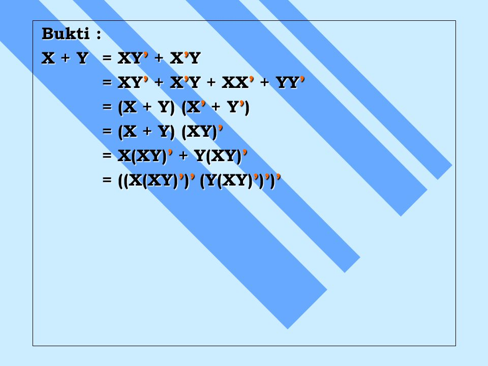 Bukti : X + Y = XY' + X'Y = XY' + X'Y + XX' + YY' = XY' + X'Y + XX' + YY' = (X + Y) (X' + Y') = (X + Y) (X' + Y') = (X + Y) (XY)' = (X + Y) (XY)' = X(