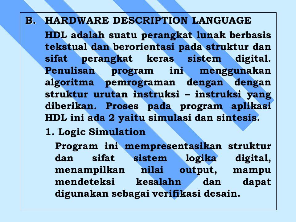 B. B.HARDWARE DESCRIPTION LANGUAGE HDL adalah suatu perangkat lunak berbasis tekstual dan berorientasi pada struktur dan sifat perangkat keras sistem