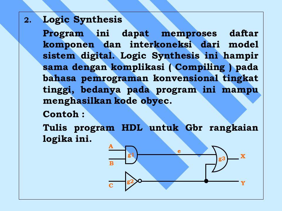 2. 2. Logic Synthesis Program ini dapat memproses daftar komponen dan interkoneksi dari model sistem digital. Logic Synthesis ini hampir sama dengan k